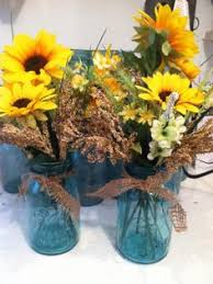 Blue Mason Jars Wedding Decor Interesting tin can vases for country bridal shower like this 93