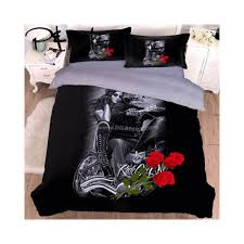 papa mima drop 3d beauty skull bedding set microfiber fabric duvet cover sets pillowcases king queen double twin size color 20185621cp size king