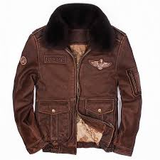 compre 2018 hombres de la vendimia chaqueta de cuero marrón piloto de cuello de lana más el tamaño xl ruso invierno cuero grueso capa piloto envÍo gratis