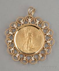 1910 american eagle twenty dollar gold coin mounted and diamond pendant