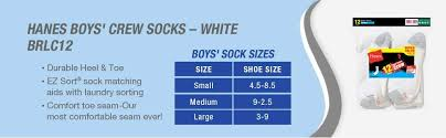 Hanes Boys T Shirt Size Chart Hanes Ultimate Boys Big 12 Pack Crew Socks