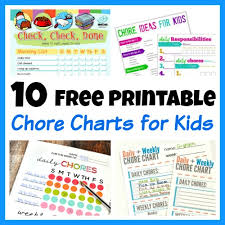 Free Chore List Charts 10 Free Printable Chore Charts For Kids