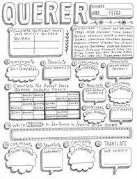 Querer Verb Chart Querer Spanish Verb Querer Worksheet Conjugation