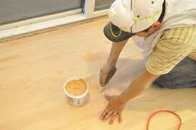 after sanding the guys used woodwise wood filler to fill nail holes and any noticeable s