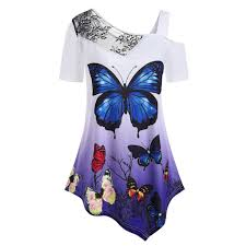 Panel Shirt Design Ladies Vzexa Womens Blouse Ladies Short Sleeve Butterfly T Shirt