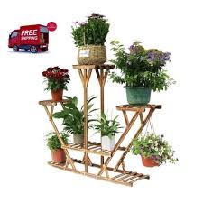 wooden plant stand 6 tier garden flower pedestal display patio pot storage rack