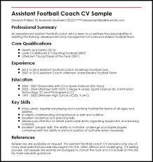 Football Coaching Resume Template Assistant Football Coach Cv Sample Myperfectcv