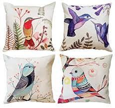 Small Picture Set of 4 Decorative Cushion Covers Exotic Birds Painting Print