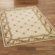 fleur de lis border rectangle rug