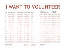 Volunteer Registation And Sign Up Sheet Template