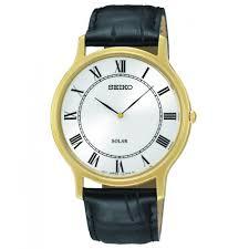 gents seiko solar classic black leather strap watch