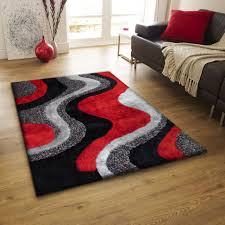 Red Living Room Rug Indoor Red Grey Black Hand Tufted Area Rug Luxurious Hand Carved