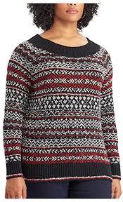 Chaps Womens Plus Size Cable Knit Crewneck Sweater Black