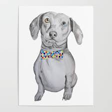 Dapper Dachshund Designs Dapper Dachshund Watercolor Dog Poster By Santinaartstudio