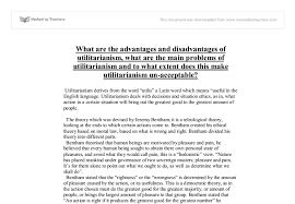 what are the advantages and disadvantages of utilitarianism what  document image preview