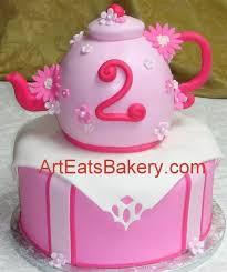 Two Tier Girls Pink Fondant 3d Teapot Unique Cusrom Designed