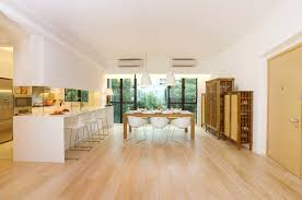 white wash wood floors kitchen contemporary with floating shelves