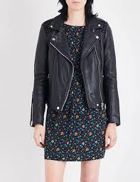 designers maje black leather jacket for women
