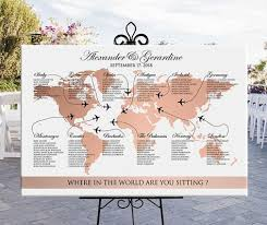 World Map Seating Chart Wedding Printable Rose Gold Travel