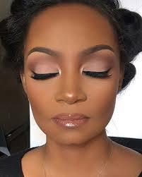 soft glam makeup look dark skin