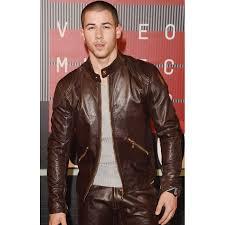 mtv awards nick jonas brown leather jacket