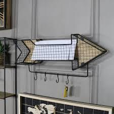 retro metal arrow wall shelf with hooks