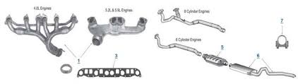 jeep zj grand cherokee replacement exhaust engine headers, pipes grand am exhaust diagram at Grand Am Exhaust Diagram