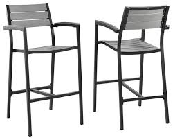 modern urban contemporary bar stool outdoor patio set of 2 brown gray steel