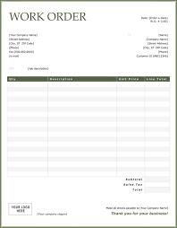 Blank Work Order Forms Templates Work Order Sample Blank Work Order Invoice Chakrii