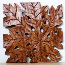 Wood Carved Wall Decor Wall Decor Leaf Panel Set Carved Wood Thai Art