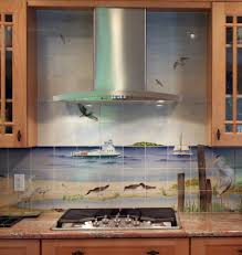 Kitchen Mural Kitchen Design Sweet Backsplash Idea For Beach Themed Kitchen