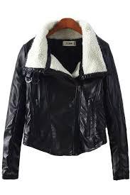 black faux leather lapel motorcycle jacket