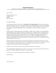 General Customer Service Cover Letter The Letter Sample