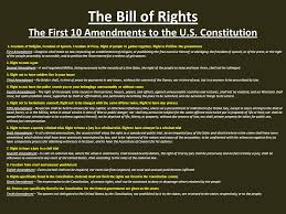 Bill Of Rights Powerpoint The Bill Of Rights The First 10 Amendments To The U S Constitution