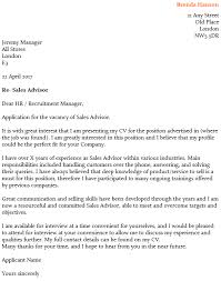 Sales Advisor Cover Letter Example Icover Org Uk