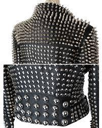 heavy metal punk women jacket studded with rivets