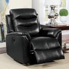 revo luxury leather power recliner black