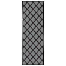 glamour collection contemporary moroccan trellis dark gray 2 ft x 5 ft kids runner