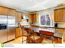 Granite Island Kitchen Wood Classic Large Kitchen With Granite Island Royalty Free Stock