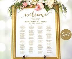Calligraphy Wedding Seating Chart Gold Wedding Seating Chart Template Wedding Seating Chart