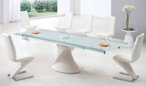 white modern dining room sets. White Dining Room Set With Curved Chairs Made Of Leather Metal Legs And Modern Sets