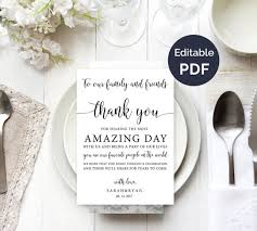 Wedding Thank You Notes Wedding Thank You Note Template Wedding Table Thank You Etsy