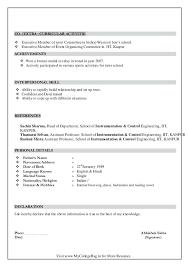 Cv Sample Format Download Basic Resume Sample Format Sample Of A Basic Resume Curriculum Vitae