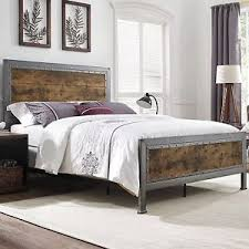 NEW Queen Size Metal Bed Frame Industrial Brown Rustic Oak Wood ...