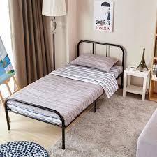 Details about Twin Size Metal Bed Frame Slats For Kid Toddler Bedroom Black Platform Headboard