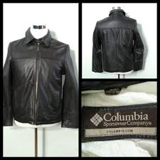 details about columbia leather coat men s med espresso full zip collared inv s9142
