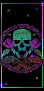 Neon Skull, colourful, rainbow, HD ...