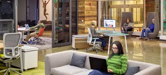 collaborative office space. Haworth Open Office Workplaces With People Using The Space Collaborative