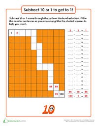 Subtract Ten Or One To Get To One Worksheet Education Com