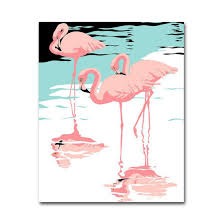 canvas handmade flamingo wall art